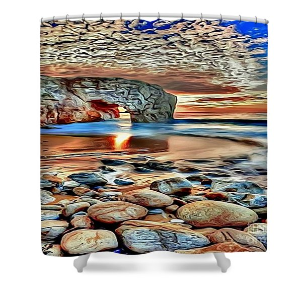 Weighed In Stone Shower Curtain