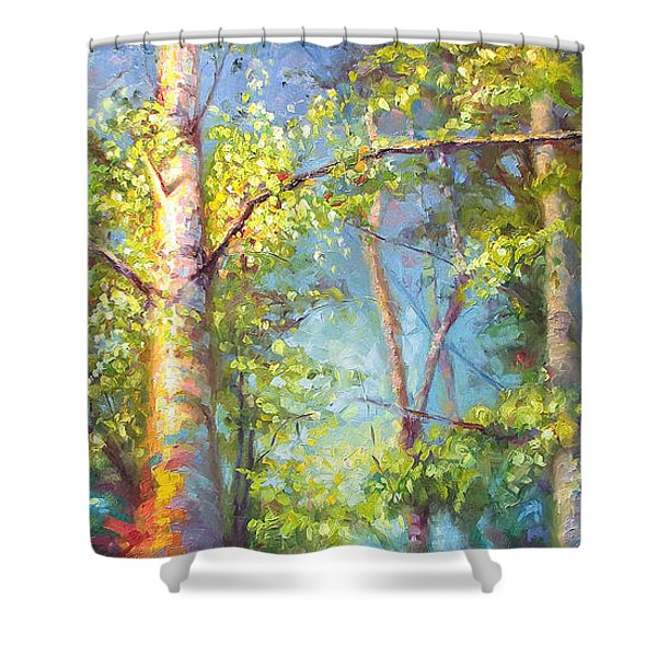 Welcome Home - Birch And Aspen Trees Shower Curtain