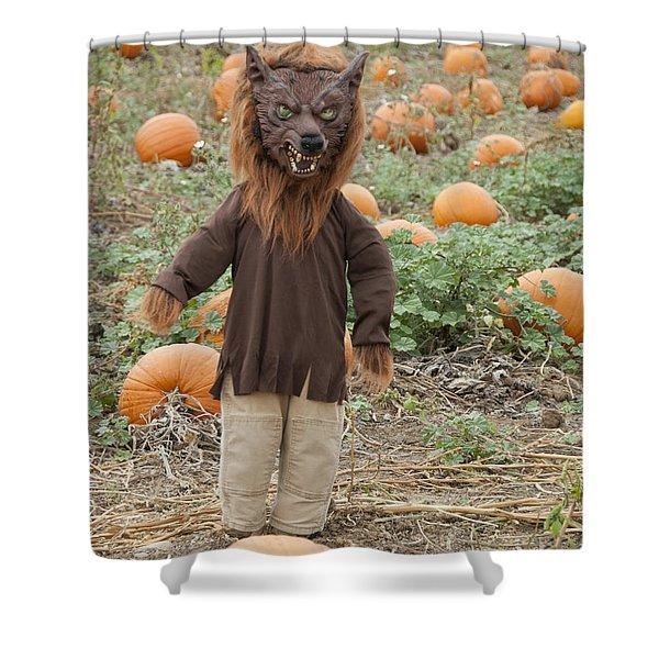 Werewolf In The Pumpkin Patch Shower Curtain