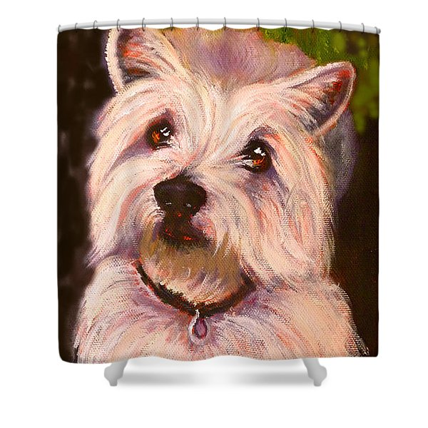 West Highland Terrier Reporting For Duty Shower Curtain
