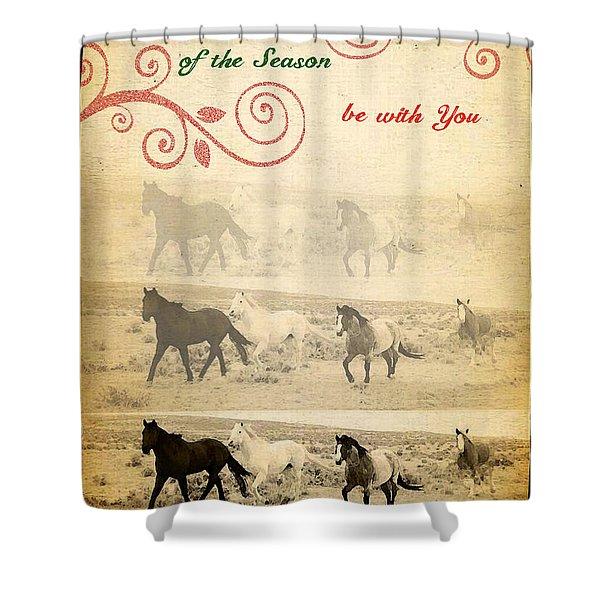 Western Themed Christmas Card Wyoming Spirit Shower Curtain