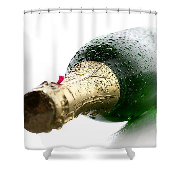 Wet Champagne Bottle Shower Curtain