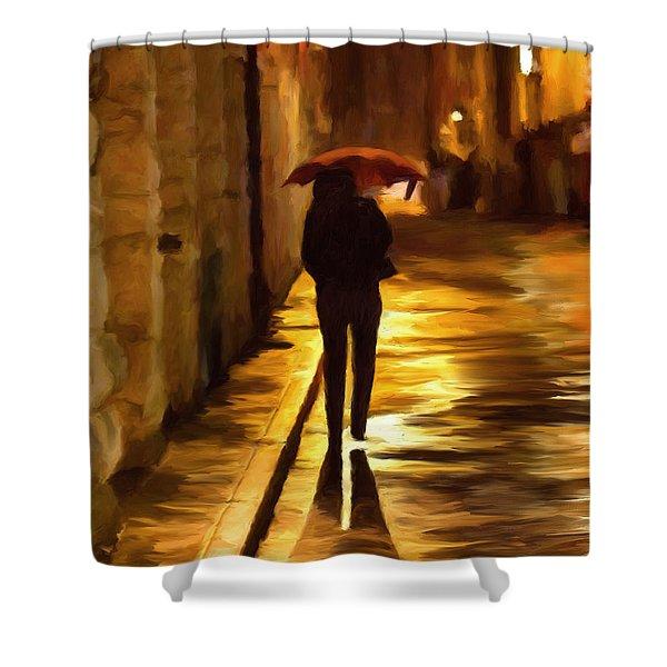 Wet Rainy Night Shower Curtain