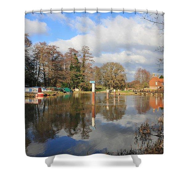 Wey Canal Surrey England Uk Shower Curtain