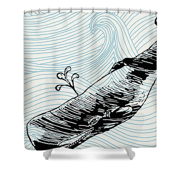 Whale On Wave Paper Shower Curtain