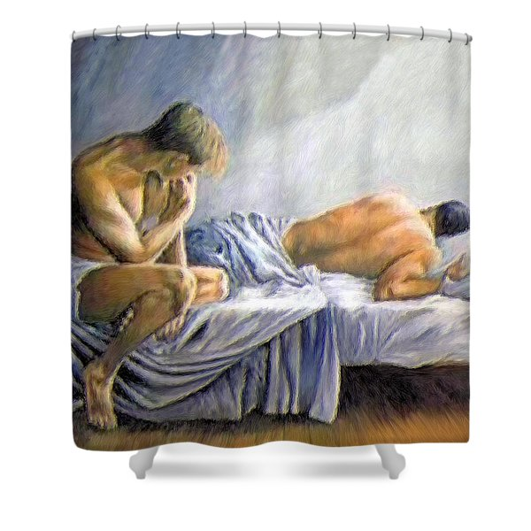 What Is He Dreaming Shower Curtain