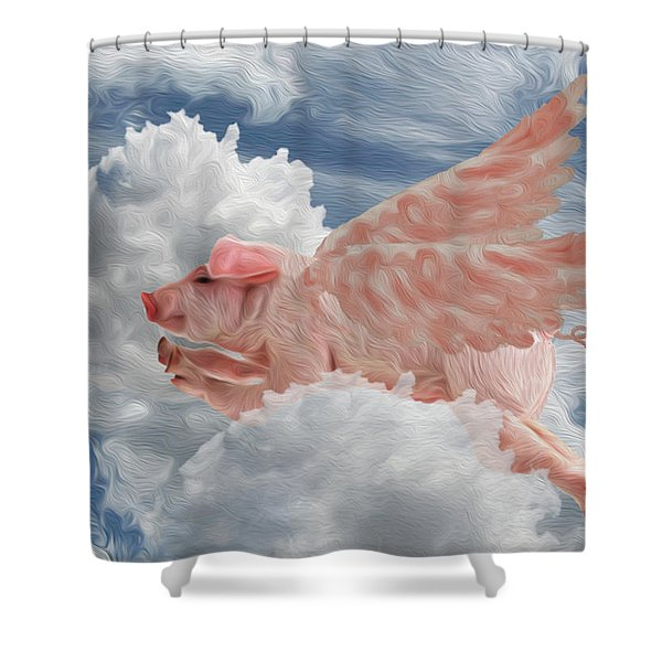 When Pigs Can Fly - Flying Pig Shower Curtain
