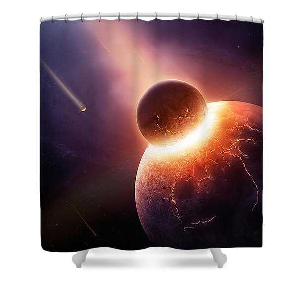 When Planets Collide Shower Curtain