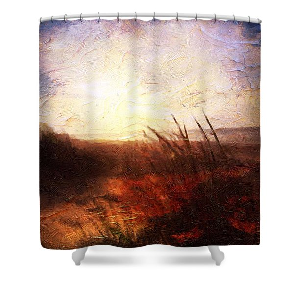 Shower Curtain featuring the painting Whispering Shores By M.a by Mark Taylor
