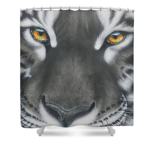 White And Black Tiger Shower Curtain