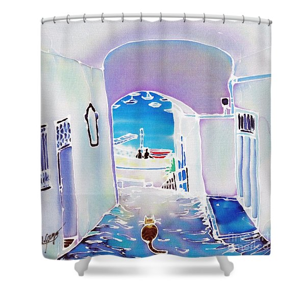 White And Blue 1 Shower Curtain