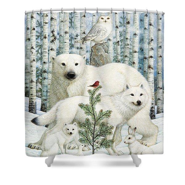 White Animals Red Bird Shower Curtain