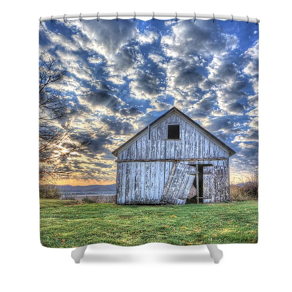 White Barn At Sunrise Shower Curtain