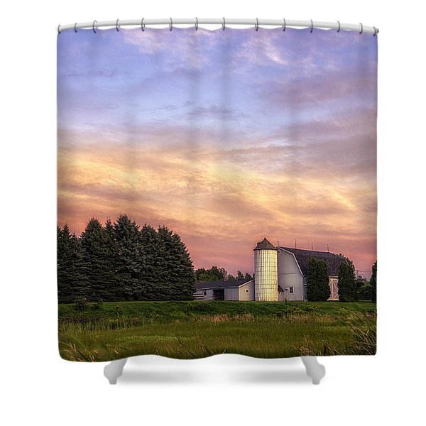 White Barn Sunset Shower Curtain