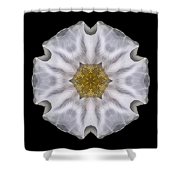 White Beach Rose I Flower Mandala Shower Curtain