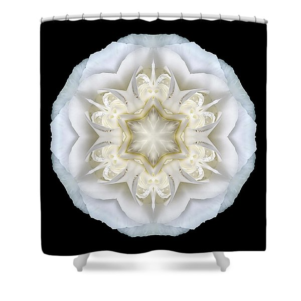 White Begonia II Flower Mandala Shower Curtain