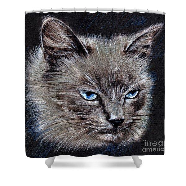 White Cat Portrait Shower Curtain