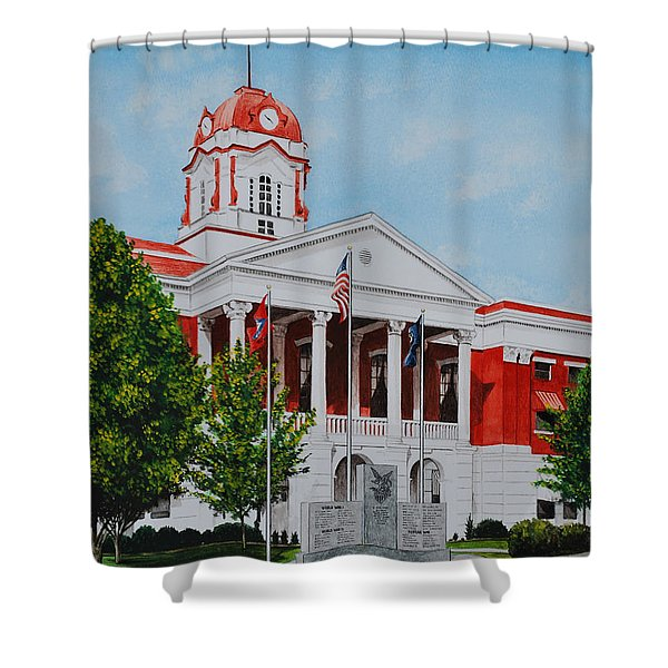 White County Courthouse - Veteran's Memorial Shower Curtain