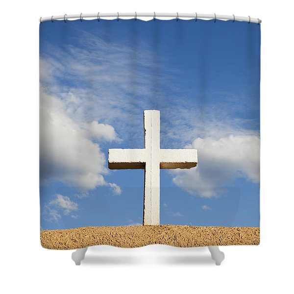 Shower Curtain featuring the photograph White Cross On Adobe Wall by Bryan Mullennix