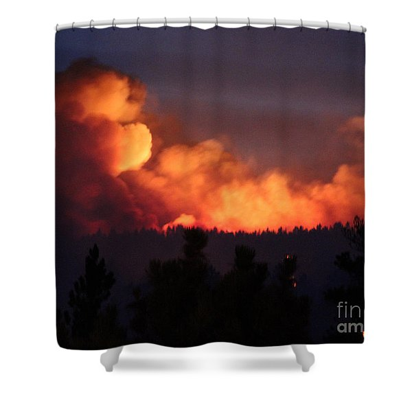 White Draw Fire First Night Shower Curtain