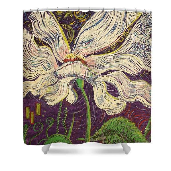 White Flower Series 6 Shower Curtain