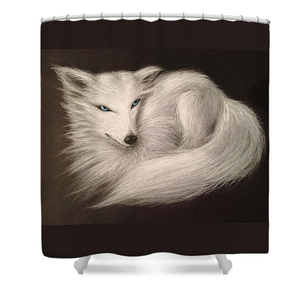 White Fox Shower Curtain