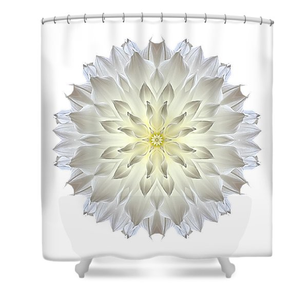 Giant White Dahlia I Flower Mandala White Shower Curtain