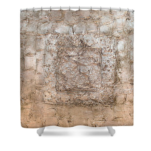 White Gold Mixed Media Triptych Part 2 Shower Curtain