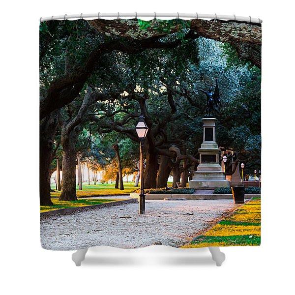 White Point Garden Walkway Charleston Sc Shower Curtain