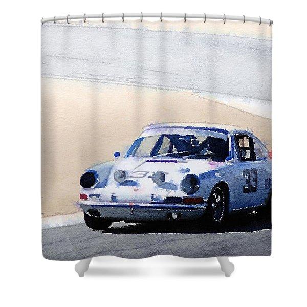 White Porsche 911 In Monterey Watercolor Shower Curtain