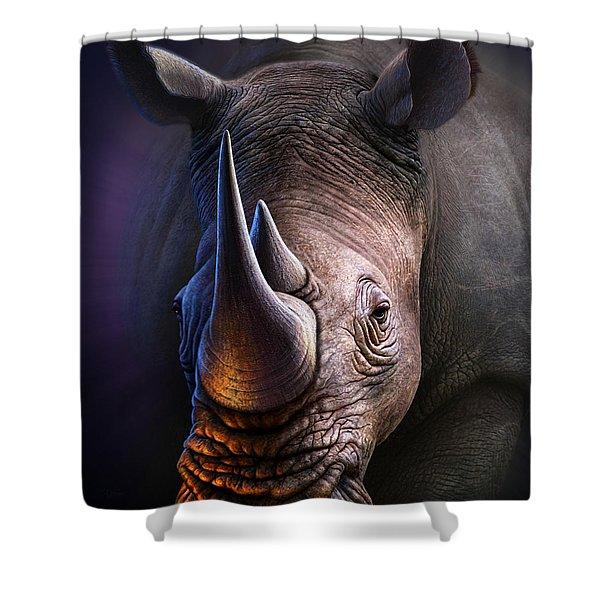 White Rhino Shower Curtain