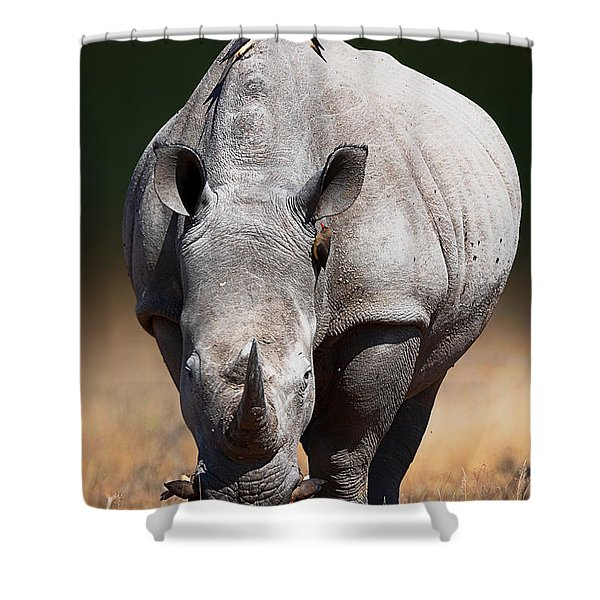 White Rhinoceros  Front View Shower Curtain