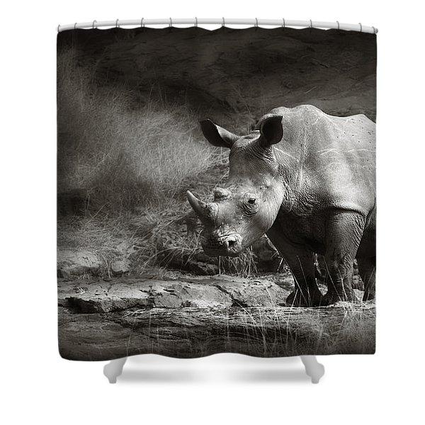White Rhinoceros Shower Curtain
