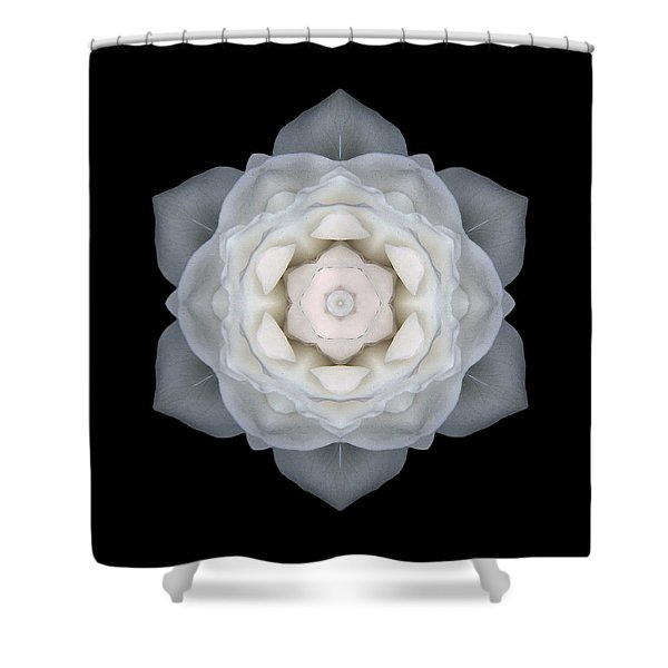 White Rose I Flower Mandala Shower Curtain
