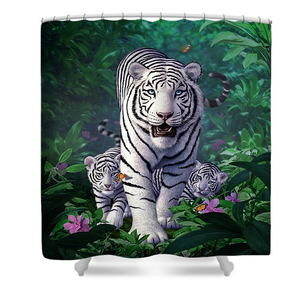 White Tigers Shower Curtain