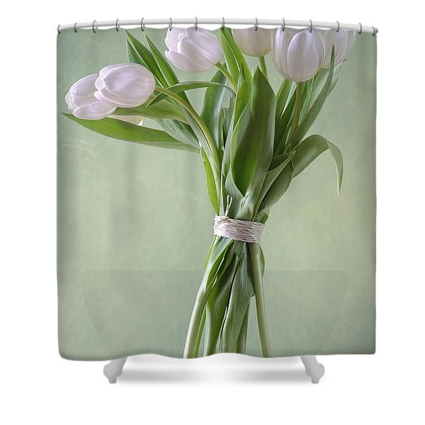 White Tulips Shower Curtain