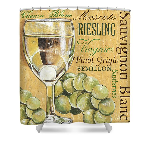 White Wine Text Shower Curtain