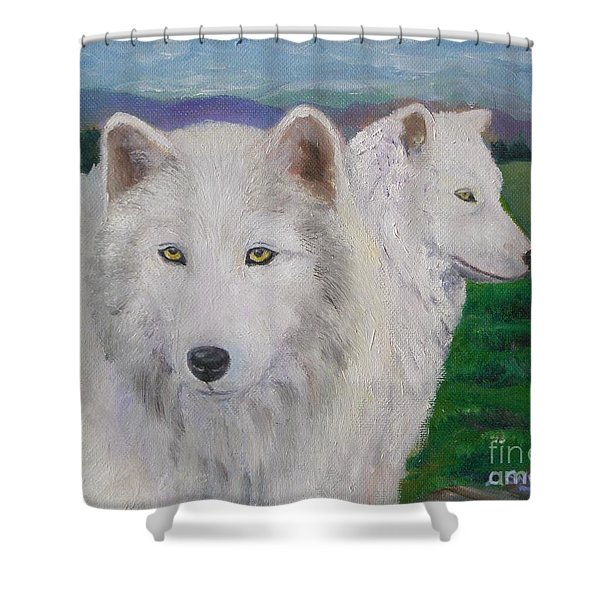 White Wolves Shower Curtain