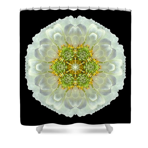 White Zinnia Elegans V Flower Mandala Shower Curtain