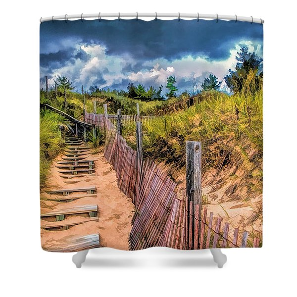 Whitefish Dunes State Park Stairs Shower Curtain