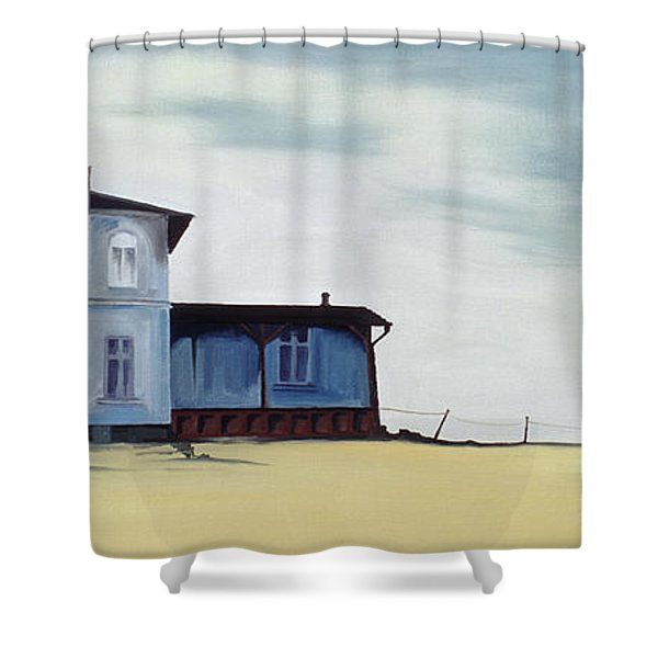 Wide Blue Shower Curtain