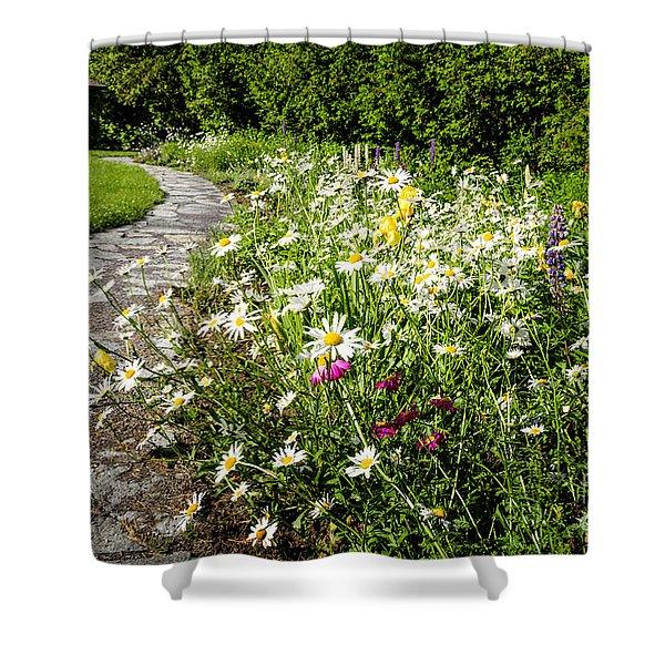 Wildflower Garden And Path To Gazebo Shower Curtain
