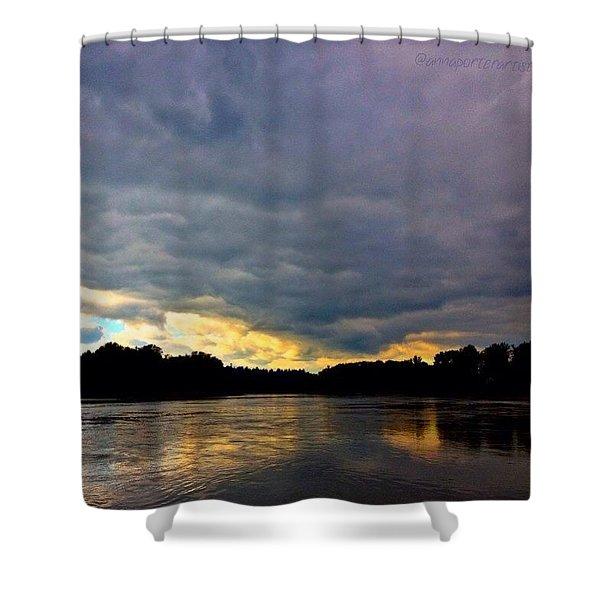 Willamette River, Evening Light Shower Curtain