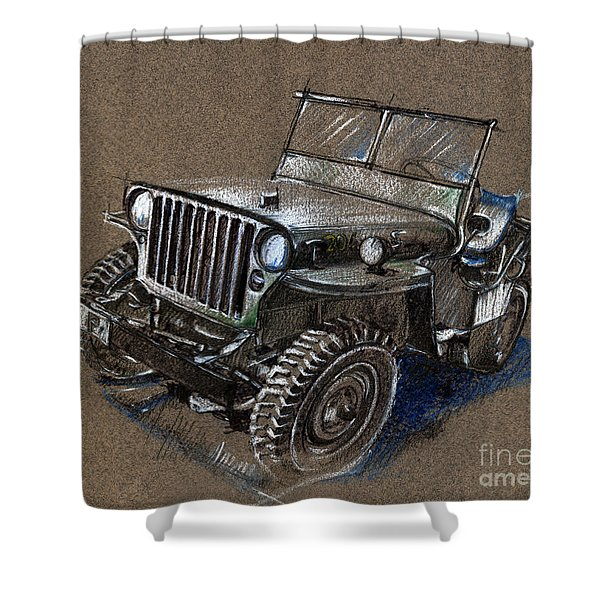 Willys Car Drawing Shower Curtain
