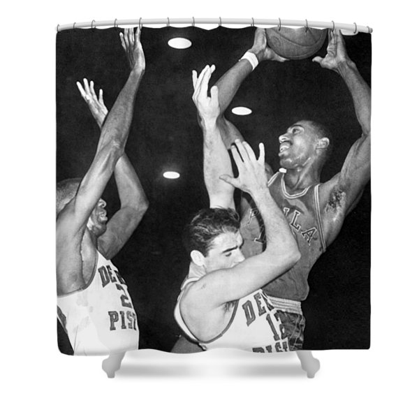 Wilt Chamberlain Shoots Shower Curtain
