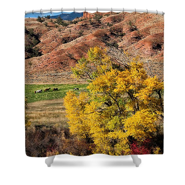 Wind River Horse Ranch In Autumn Shower Curtain