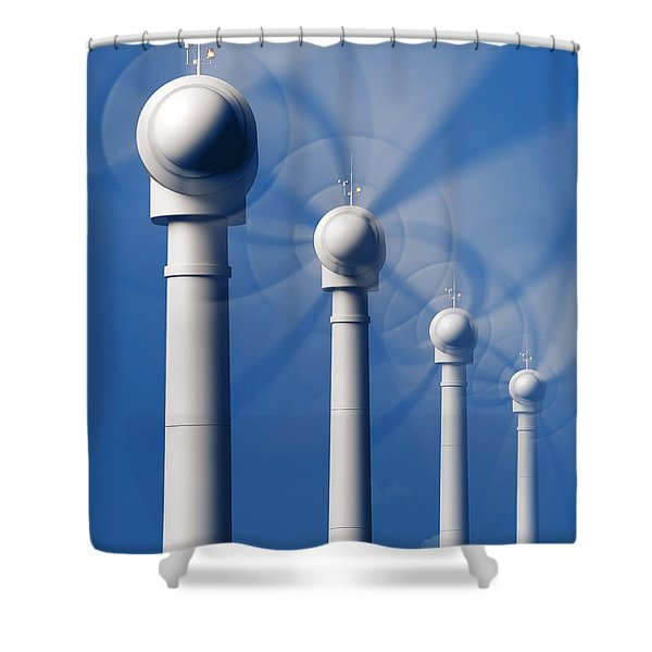 Wind Turbines In Motion From The Front Shower Curtain
