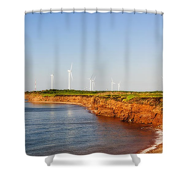 Wind Turbines On Atlantic Coast Shower Curtain
