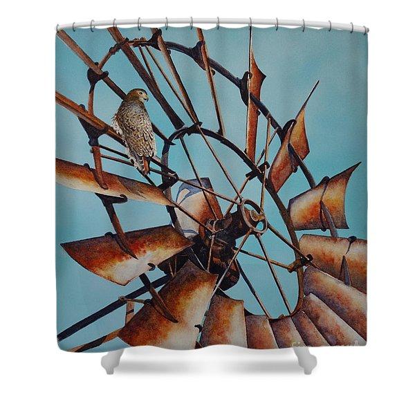 Windmill And Hawk Shower Curtain