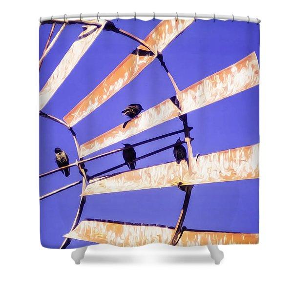 Windmill Birds Shower Curtain